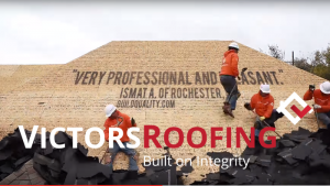 Victors Roofing install with logo and testimonial