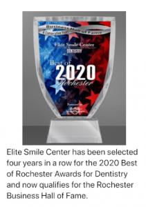 Elite Smile Center Rochester Hall of Fame Award