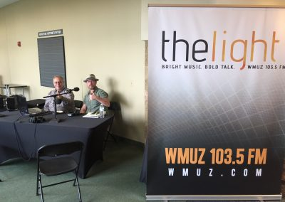 Mac and WMUZ Engineer, Brian Kerkan, broadcasting live for Church on the Go.